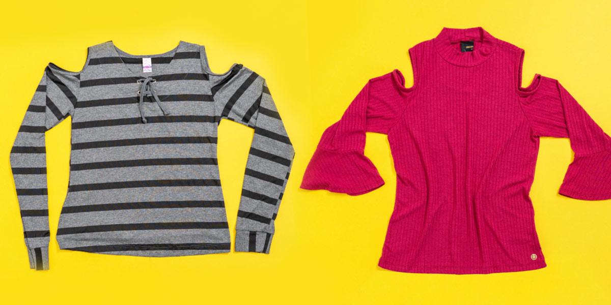 roupas com ombro vazado são tendência