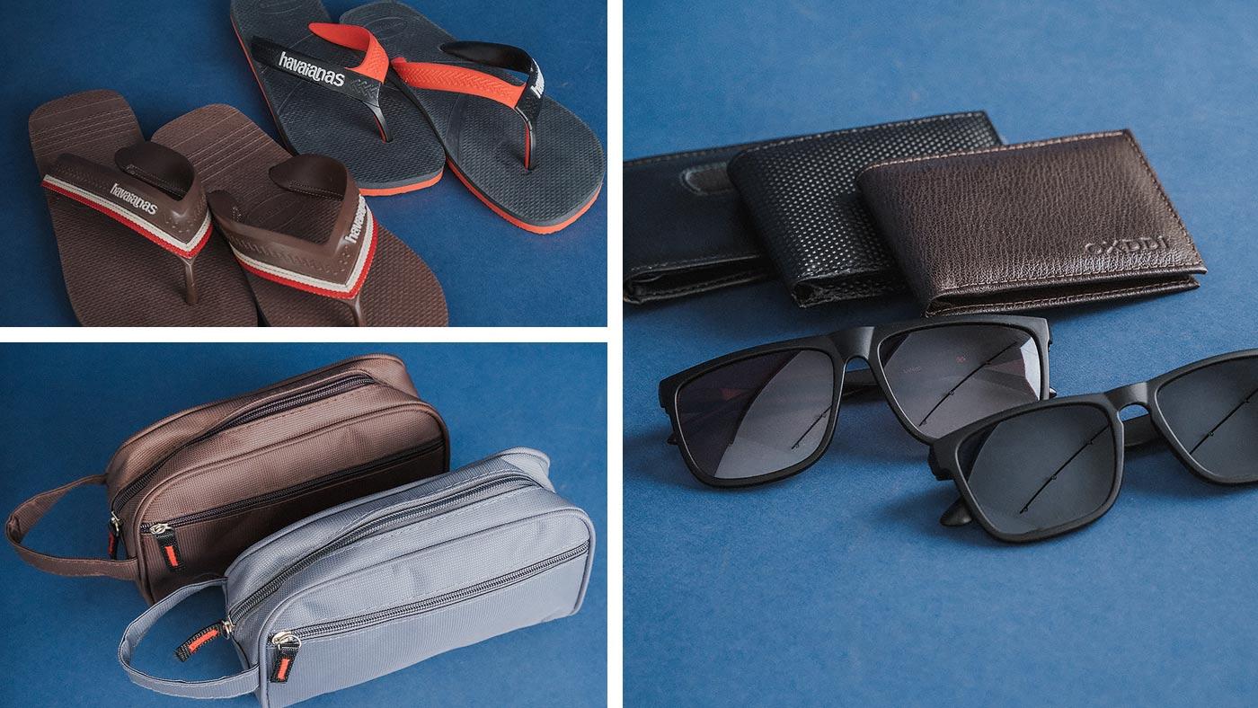 Chinelos, carteiras, oculos e necessaire